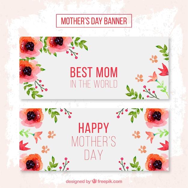 Flores vermelhas bandeiras do dia das mães Vetor Premium