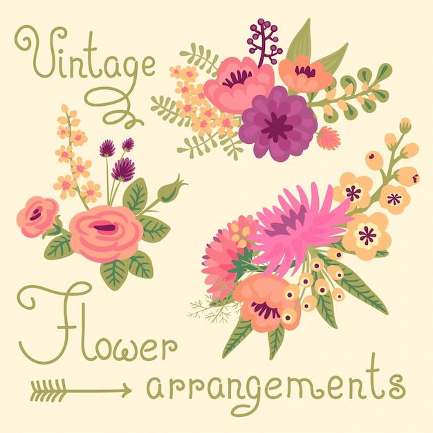 Flores vintage. buquês bonitos para o projeto. Vetor Premium