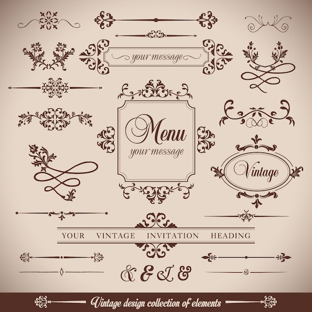 Flores VintageRetro quadro e calligrpaphic elementos Vetor grátis