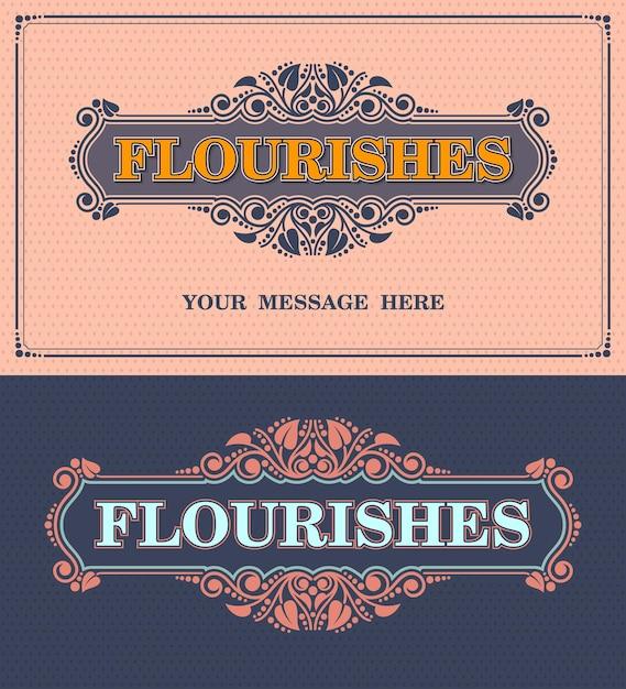 Floresce moldura ornamental. modelo de vetor cartão vintage ornamento. convite de casamento retrô, ilustração vetorial Vetor Premium