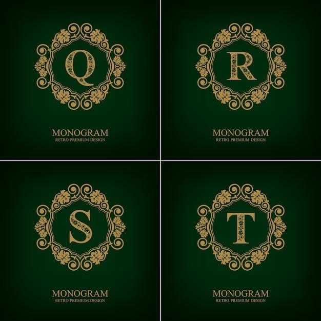 Floresce o modelo do emblema qrst, elementos de design do monograma, modelo caligráfico gracioso. Vetor Premium
