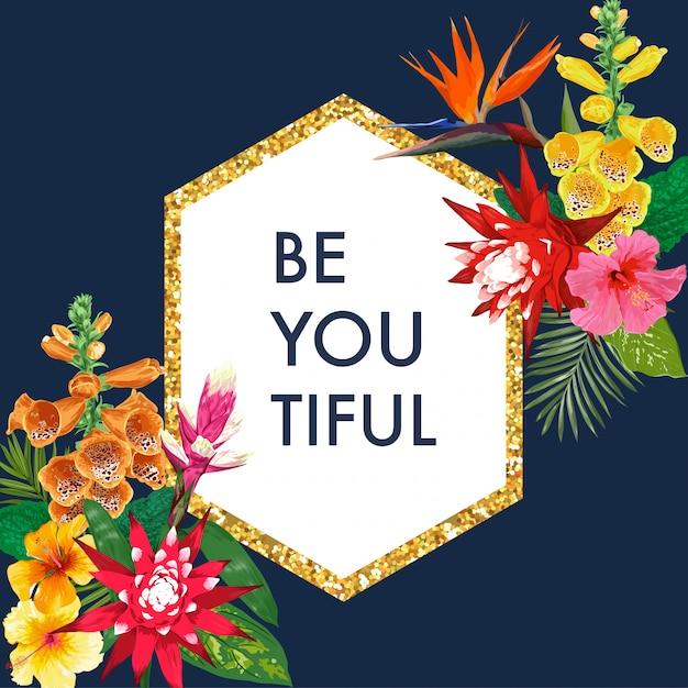 Florescendo a mola e o quadro floral dourado do verão com hibiscus. flores de lírio de tigre aquarela Vetor Premium