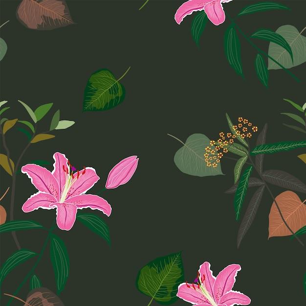 Florescendo padrão sem emenda de lírio rosa doce lindo, exóticas folhas tropicais na noite escura de verão Vetor Premium