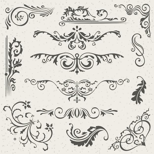 Florescer bordas caligráficas vitorianas Vetor Premium