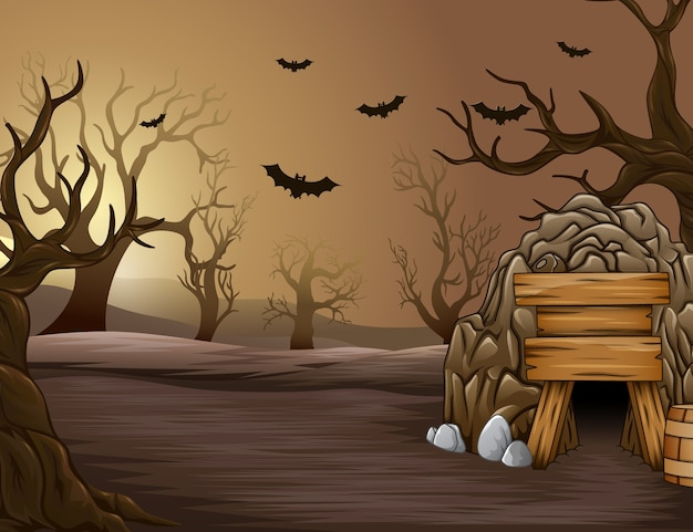 Floresta assustadora de halloween na tarde Vetor Premium