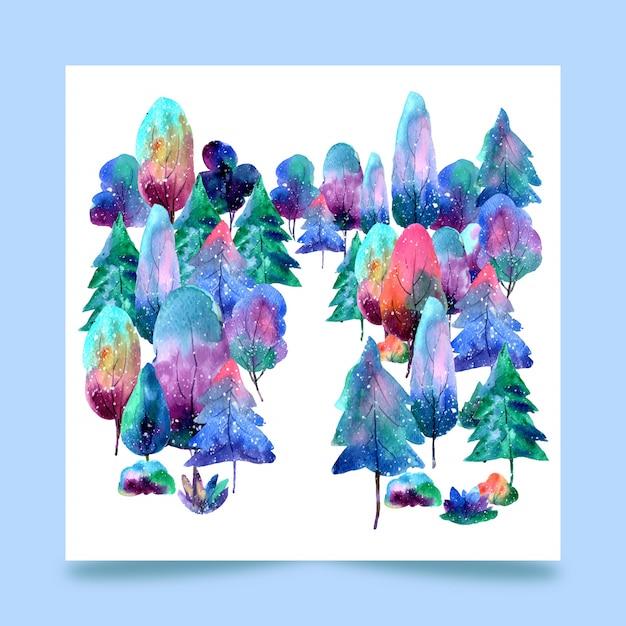 Floresta de árvores em aquarela Vetor Premium