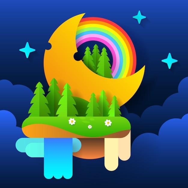 Floresta de fadas da noite. lua no céu com um arco-íris e estrelas. vetor Vetor Premium