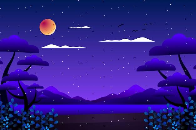 Floresta de fantasia de cenário com fundo de ilustração de mar e montanha Vetor Premium