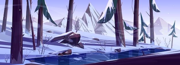 Floresta de inverno com lagoa congelada. natureza paisagem com árvores coníferas e montanhas cobertas de neve, parque selvagem ou jardim com lago gelado, rochas, pinheiros e arbustos, ilustração em vetor dos desenhos animados Vetor grátis