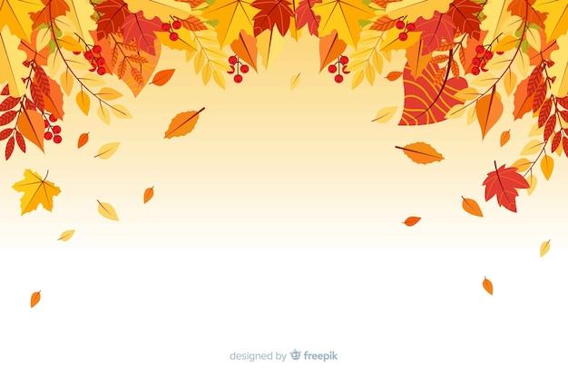 Floresta de outono plana deixa o fundo Vetor grátis