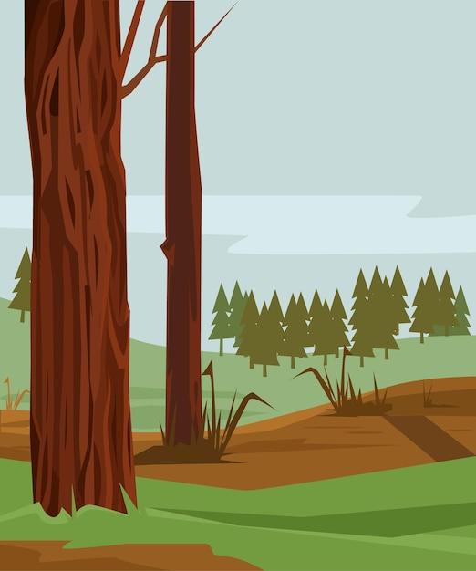 Floresta de pinheiros coloridos. ilustração em vetor plana dos desenhos animados Vetor Premium