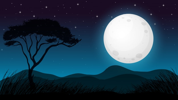 Floresta de savana na noite escura Vetor grátis
