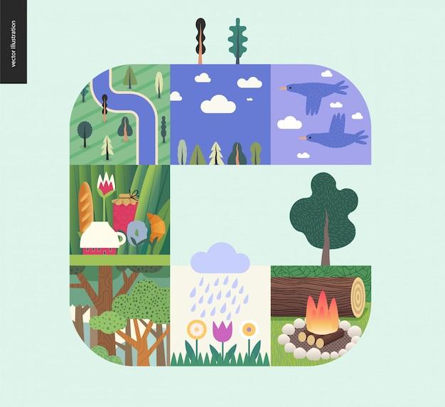 Floresta definir composição sobre um fundo de hortelã Vetor Premium