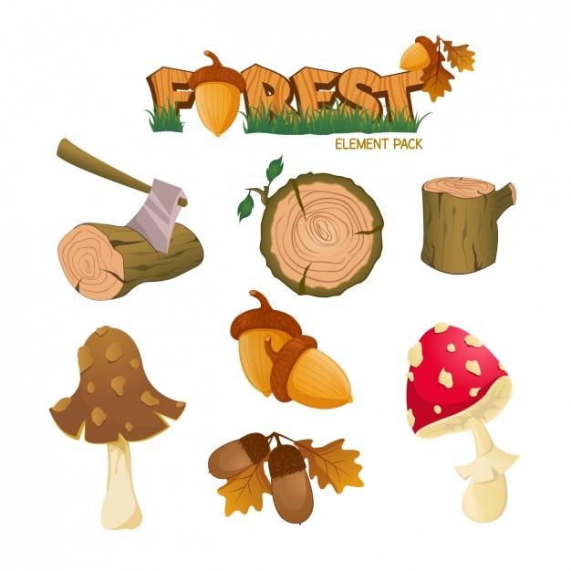 Floresta elemento pacote Vetor grátis