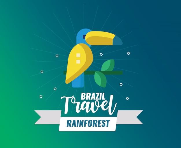 Floresta tropical do brasil e logotipo de viagem Vetor Premium