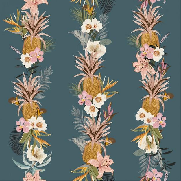 Floresta tropical exótica tropical do verão colorido bonito com as flores de florescência do verão Vetor Premium