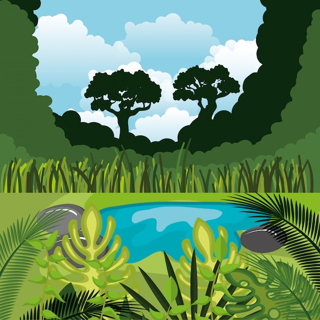 Floresta tropical selva cena natural Vetor grátis