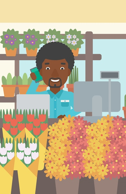 Florista na ilustração do vetor do florista. Vetor Premium