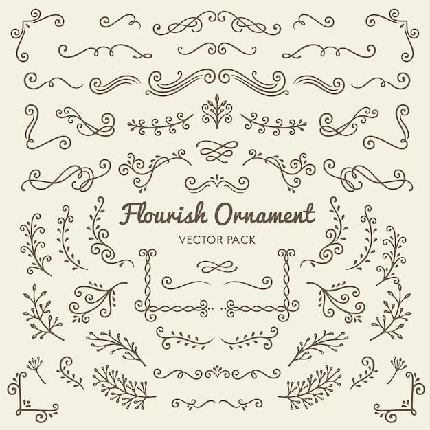 Flourish ornaments design caligráfico elementos Vetor grátis