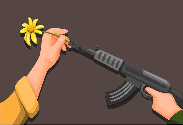 Flower power, mão colocar flor no símbolo do rifle de soldado para a paz e parar o conceito de guerra em ilustração vetorial de desenho animado Vetor Premium