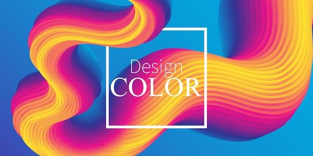 Fluid abstract. fundo vibrante. fluido . cartaz de verão de onda. gradiente de cor. onda de fluxo. resumo . fluido de cor. cores de verão. ilustração. Vetor Premium