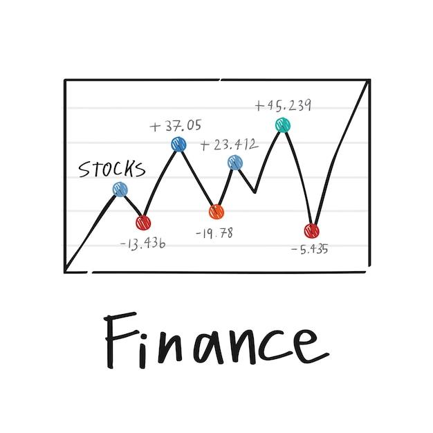 Flutuação na ilustração do gráfico do mercado financeiro de ações Vetor grátis