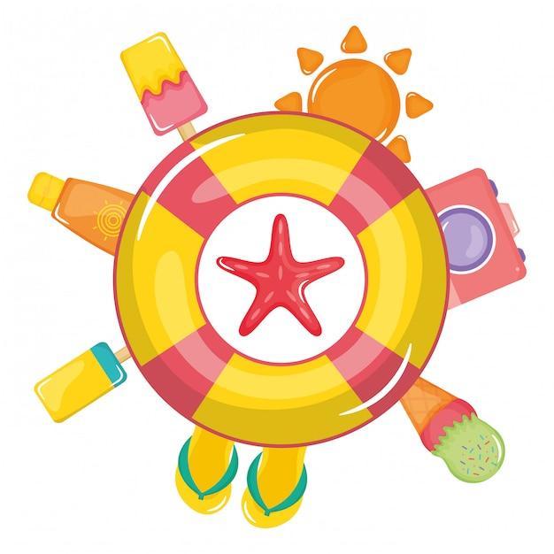 Flutuador salva-vidas com ícones de verão ao redor Vetor Premium
