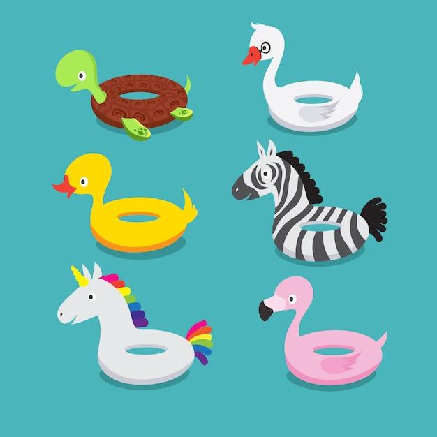 Flutuadores de piscina, animais infláveis flamingo, pato, unicórnio, zebra, tartaruga, cisne Vetor Premium