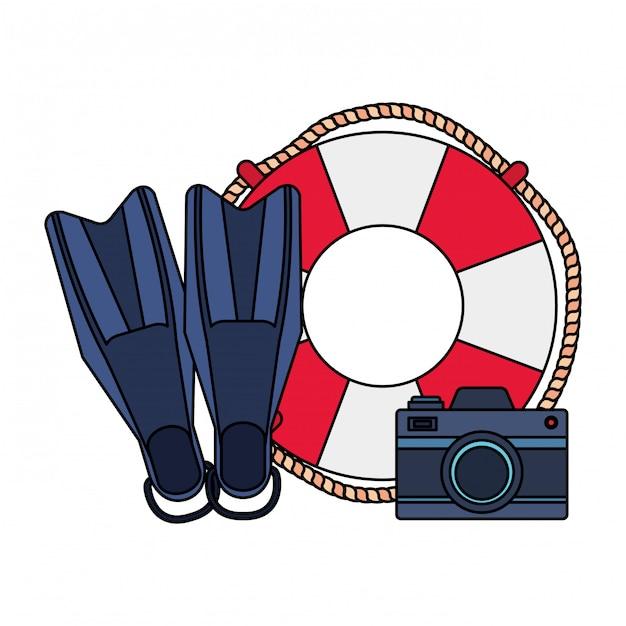Flutuar marinho com câmera e nadadeiras de mergulho Vetor Premium