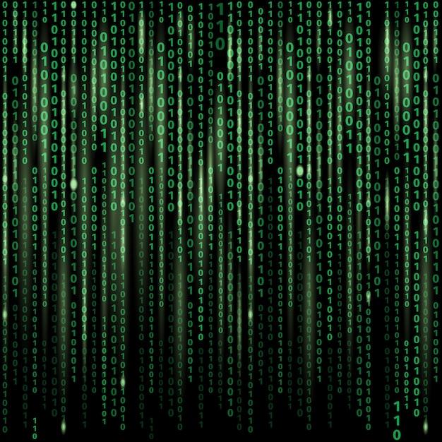 Fluxo de código binário na tela. fundo abstrato do vetor. dados e tecnologia, descriptografia e criptografia Vetor grátis