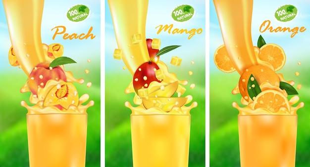 Fluxo de líquido com gotas e frutas tropicais doces Vetor Premium
