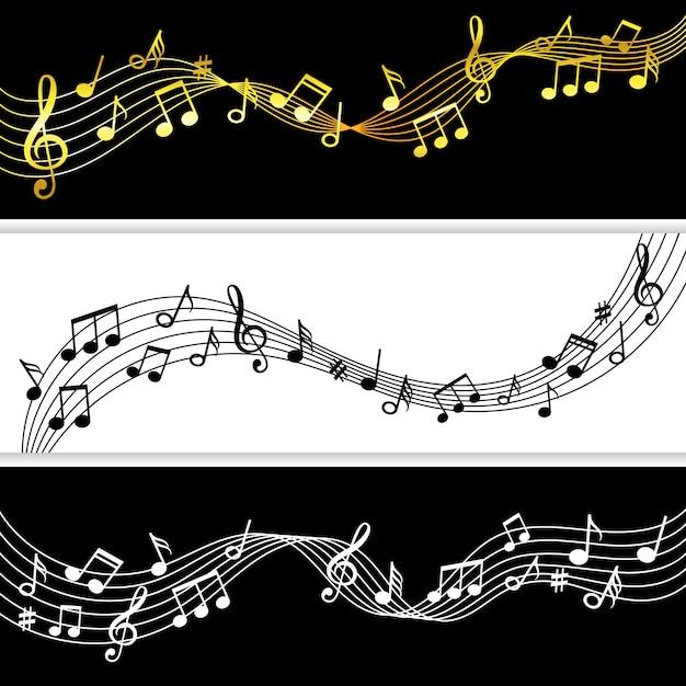 Fluxo de notas musicais. doodle nota de música desenho padrões de folha, símbolos musicais silhuetas modernas Vetor Premium