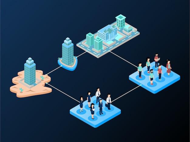 Fluxo de trabalho ou esquema de segmentação de mercado usando estilo de gradiente Vetor Premium