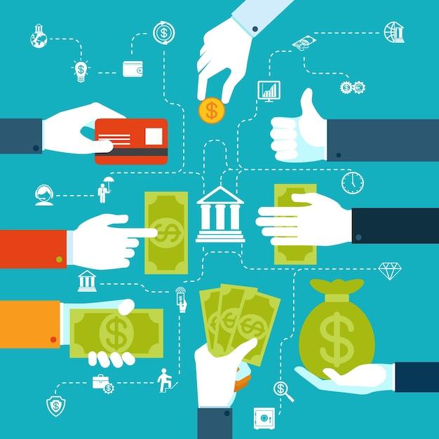 Fluxograma financeiro infográfico colorido para transferências e transações de dinheiro Vetor grátis