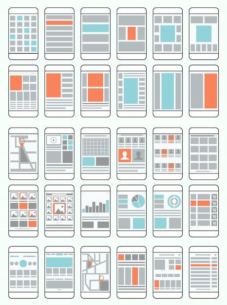 Fluxogramas de telefones celulares, wireframes, conjunto de layouts de interface para aplicativos móveis Vetor Premium