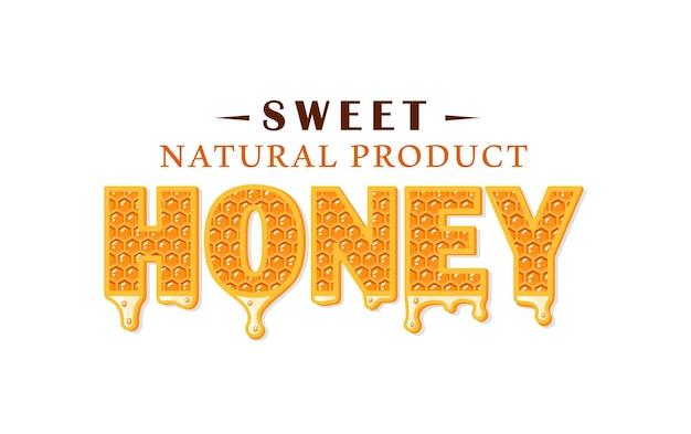 Fluxos de mel com favo de mel isolado no fundo branco. etiqueta de mel, logotipo, conceito de emblema. Vetor Premium