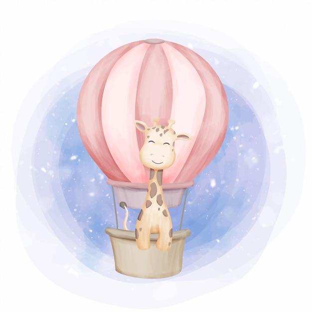 Fly up girafa com balão de ar Vetor Premium