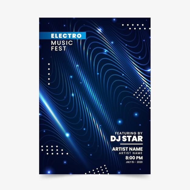 Flyer abstrato de ondas sonoras para música Vetor grátis