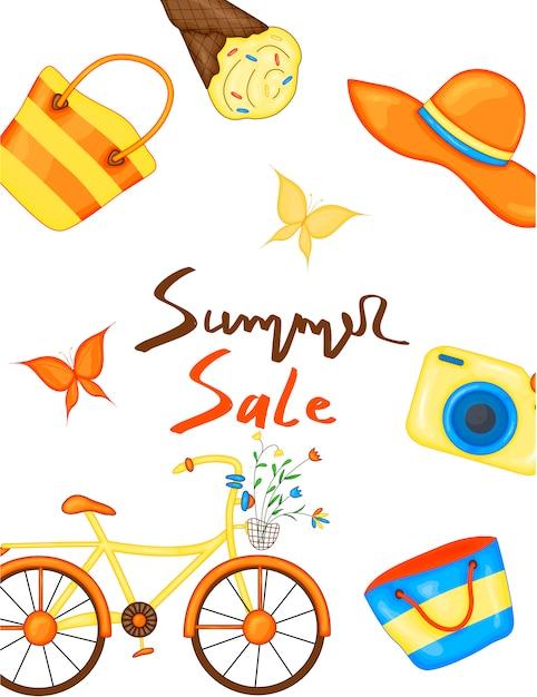 Flyer, banner para a venda de verão. Vetor Premium