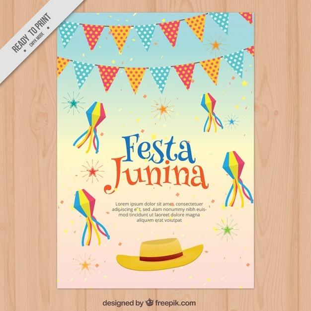 Flyer Com Decoracao Festa Junina Vetor Gratis
