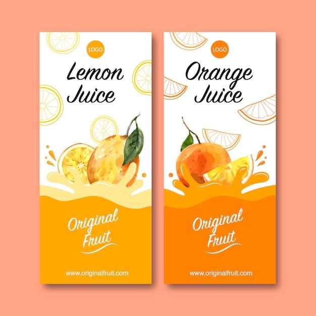 Flyer com frutas temáticos, modelo de ilustração de cor laranja criativa. Vetor grátis