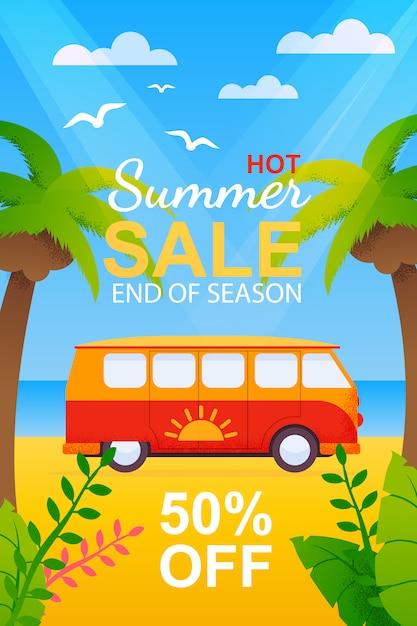 Flyer com venda de viagens de verão quente no final da temporada Vetor Premium
