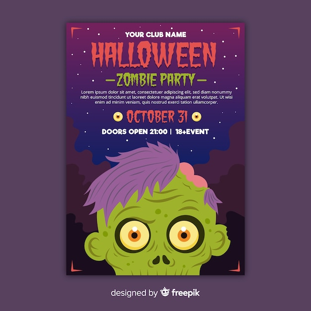 Flyer de festa de halloween de cabeça de zumbi de close-up Vetor grátis