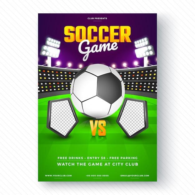 flyer de jogo de futebol ou design de cartaz baixar vetores premium