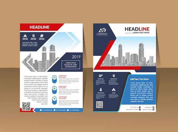 Flyer de layout conjunto capa em a4 com formas geométricas coloridas Vetor Premium