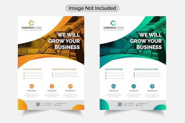 Flyer de negócios corporativos modernos Vetor Premium