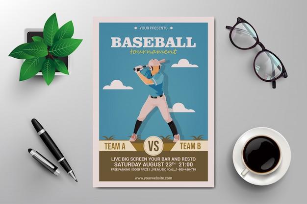 Flyer de torneio de beisebol Vetor Premium