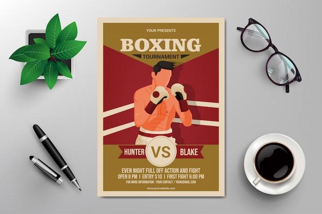 Flyer de torneio de boxe Vetor Premium