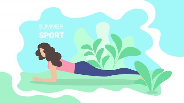 Flyer inscription summer sport Vetor Premium