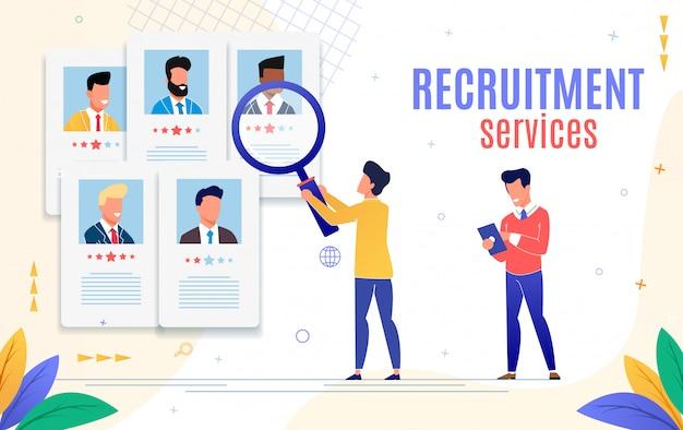 Flyer publicitário é o serviço de recrutamento escrito. Vetor Premium